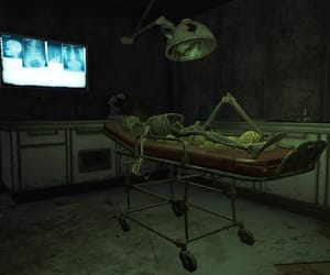dark, hospital, and skeleton image