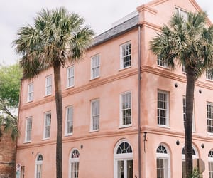 pink, architecture, and house image