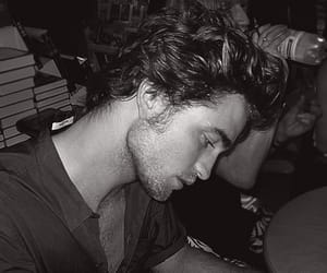 robert pattinson and black and white image