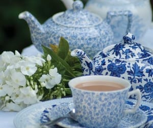 blue, tea, and white image