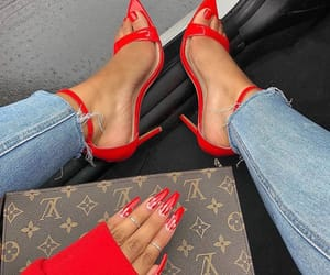 red, high heels, and nails image
