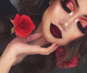 makeup, red, and rose image