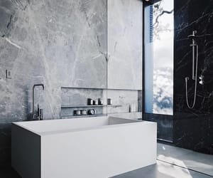 bath, bathroom, and black image