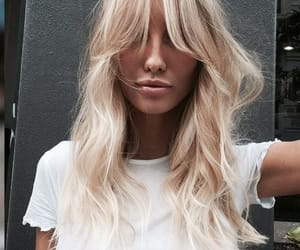 bangs, blonde, and hair image
