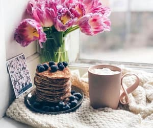 pancakes, flowers, and coffee image