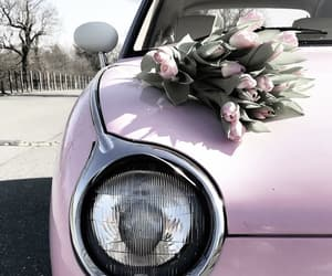 car, flowers, and pastel image