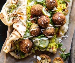 arabian, bread, and falafel image