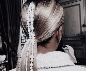 blonde hair, hairstyle, and hair accessories image