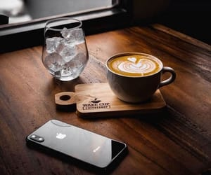coffee, ice cube, and iphone image