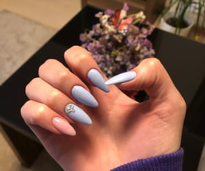 baby blue, long nails, and mine image