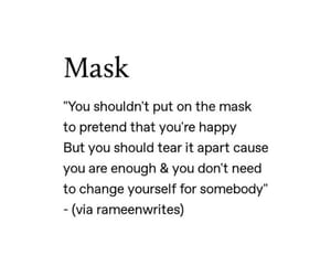 black and white, quote, and mask image