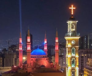 Beirut, church, and lights image