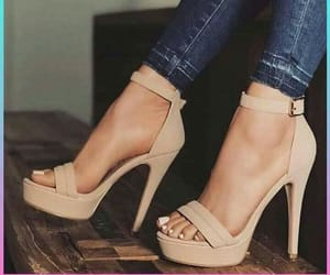 fashion shoes, high heels, and jeans image