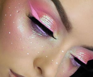 makeup, eyeliner, and pink image