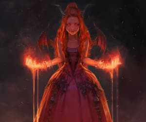 art, girl, and demon image