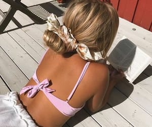 summer, hair, and book image