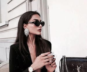 brunette, fashion, and food image