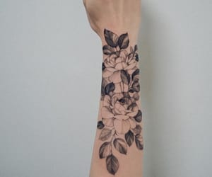 arm, flowers, and tattoo image