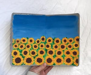 drawing, garden, and sunflowers image