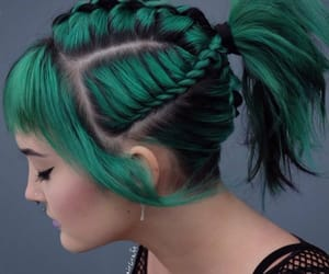 braids, color hair, and green hair image