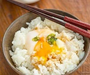 chopsticks, egg, and yummy image