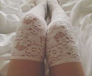 bed, stockings, and lace image