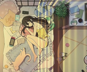 cat, girl, and room image