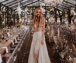 bride, wedding, and dress image