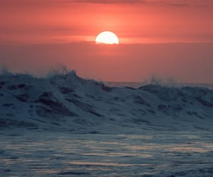 ocean, sun, and sunset image