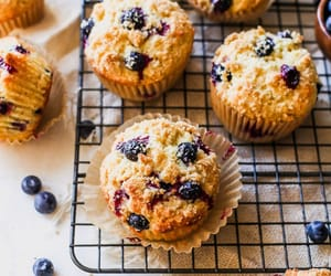 blueberry, muffins, and food image
