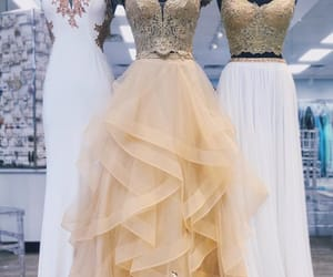 fashion, gold prom dress, and girl image