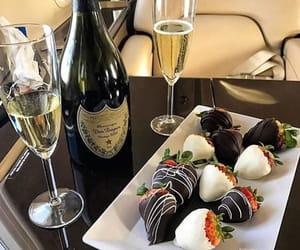 food, strawberry, and champagne image