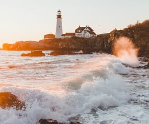 lighthouse, ocean, and nature image