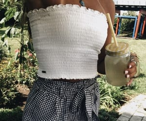 beach, outfit, and coffee image