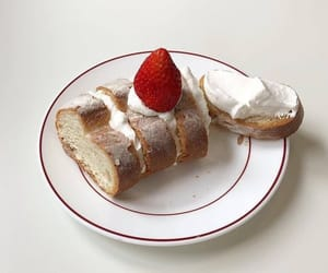 bread, cream, and strawberry image