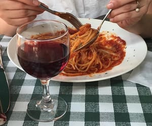 food, wine, and spaghetti image