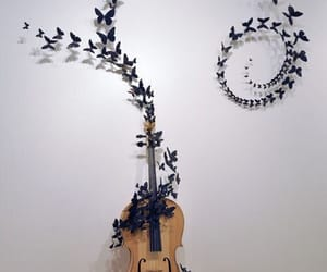 butterfly, music, and art image