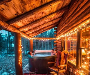 cabin, cozy, and winter image