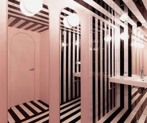 bathroom, lights, and stripes image