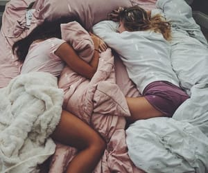 friends, bed, and friendship image