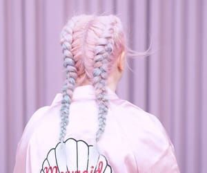 pink, hair, and mermaid image
