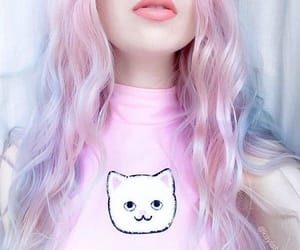 pink, hair, and cat image