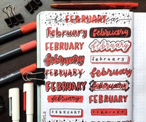 calligraphy, notebook, and red image