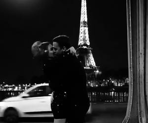 black and white, couple, and france image