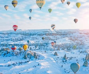 blue, winter, and hot air balloon image