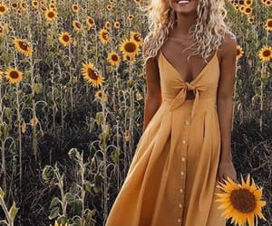 yellow, dress, and flowers image
