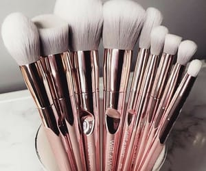 Brushes, rose gold, and makeup image