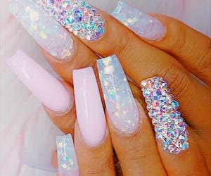 acrylic, baby pink, and gems image