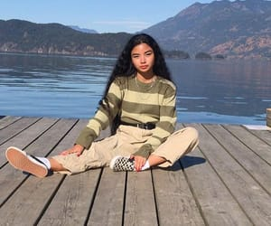 girl, fashion, and lake image