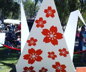 cherry blossoms, crane, and festival image